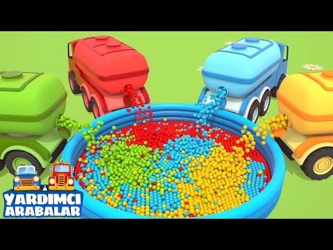 Çizgi Film Yardımcı Arabalar Top Havuzu Dolduruyor! Renkleri öğren