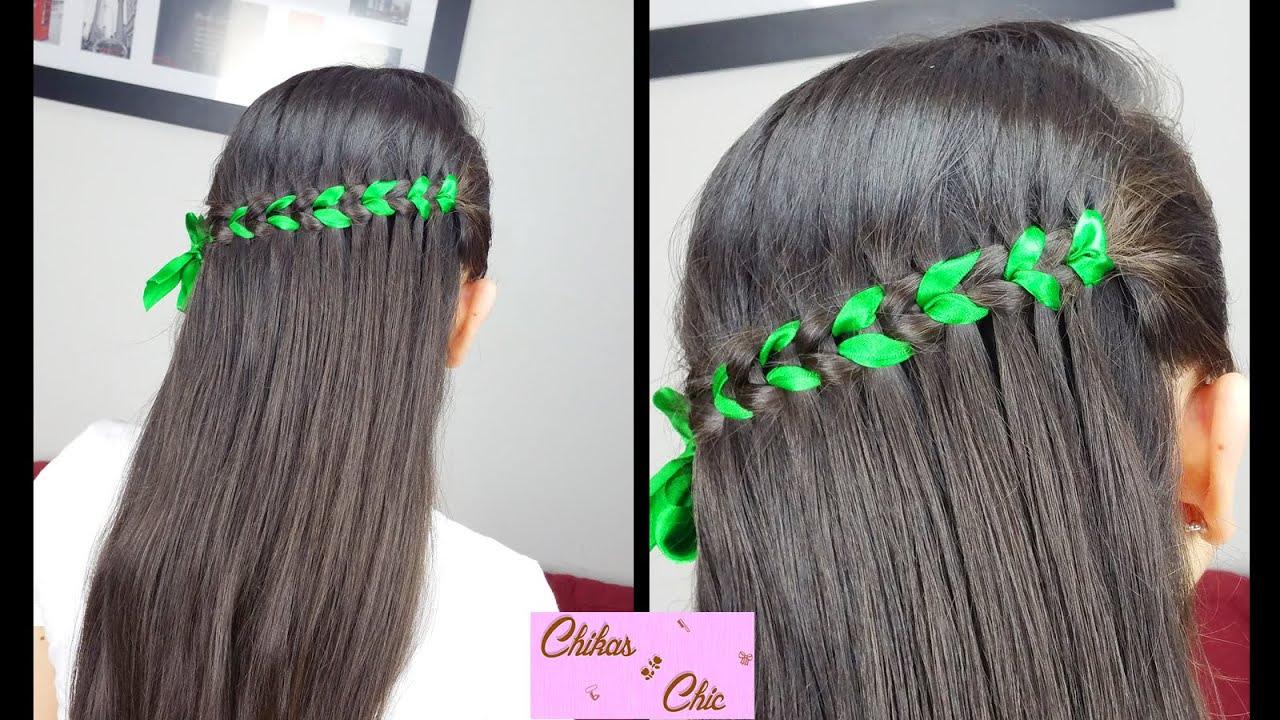 Scissor Waterfall Braid (Ribbon)| Braided Hairstyles | Cute Girly Hairstyles | Half-up ...