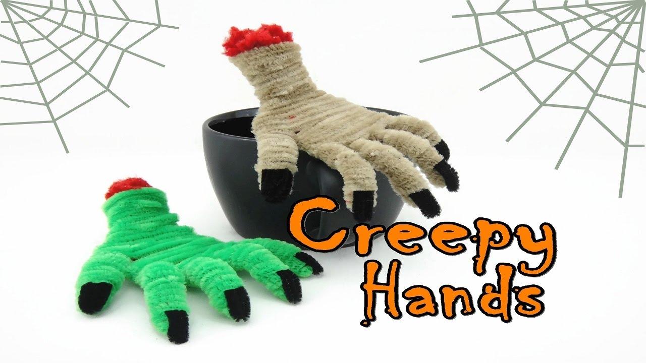 Halloween Craft - Pipe Cleaner Creepy Hands - YouTube