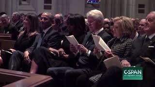 Melania Laughs With Barack Obama At Barbara Bush Funeral