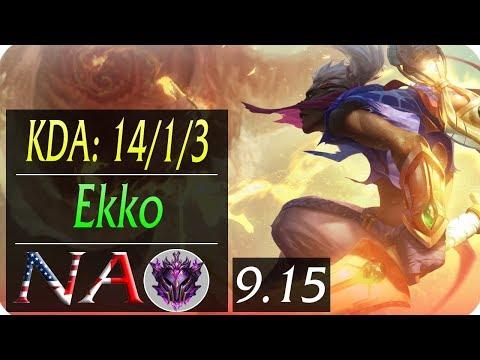 Ekko NA JG Replay   KDA: 14/1/3   Season 9   Patch 9.15