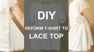 [ENG sub]안입는옷 레이스 티셔츠로 리폼하기   DIY Transform T-shirt to Lace Top [소잉타임즈]