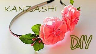 """Ободок """"Весна"""" с цветами из лент / Канзаши Мастер Класс / Kanzashi Tutorial / DIY"""