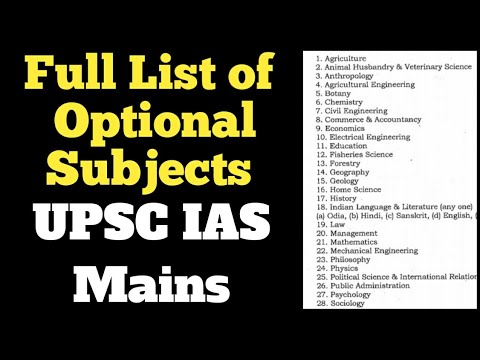 List of #optional_subjects in ||UPSC|| IAS mains.