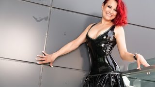Latex Mini Dress On Balcony Hotel On Turkeys Holidays