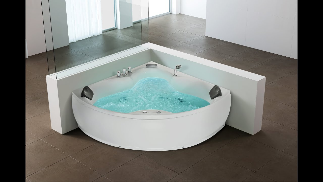 beliani whirlpool indoor sprudelbad spa badewanne eckig senado de youtube. Black Bedroom Furniture Sets. Home Design Ideas