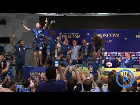 France Players Invade Deschamps Press Conference And Soak Him In Champagne