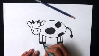 How to draw an simple Cow for kids