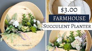 Farmhouse Succulent Wall Planter DIY -  $5 Goodwill Challenge Spring 2019