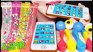 ASMR EDIBLE iPHONE, EDIBLE SPOON, JELLY NOODLES 먹는 아이폰, 먹는 숟가락, 젤리 국수 먹방 EATING SOUNDS