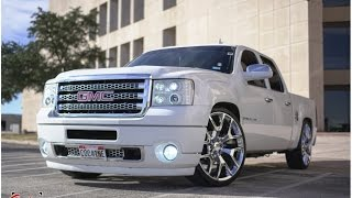 Dropped GMC Sierra crewcab with a HD Denali front end conversion on 26s!