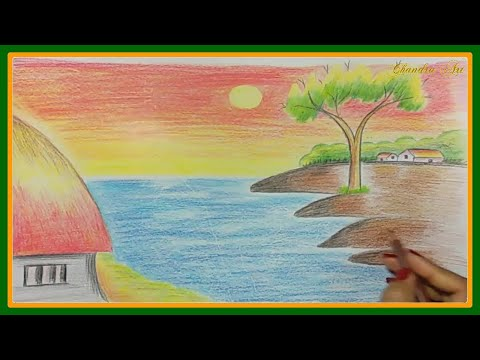 easy landscape drawing – how to draw a landscape, kids drawing, drawing a beautiful scenary