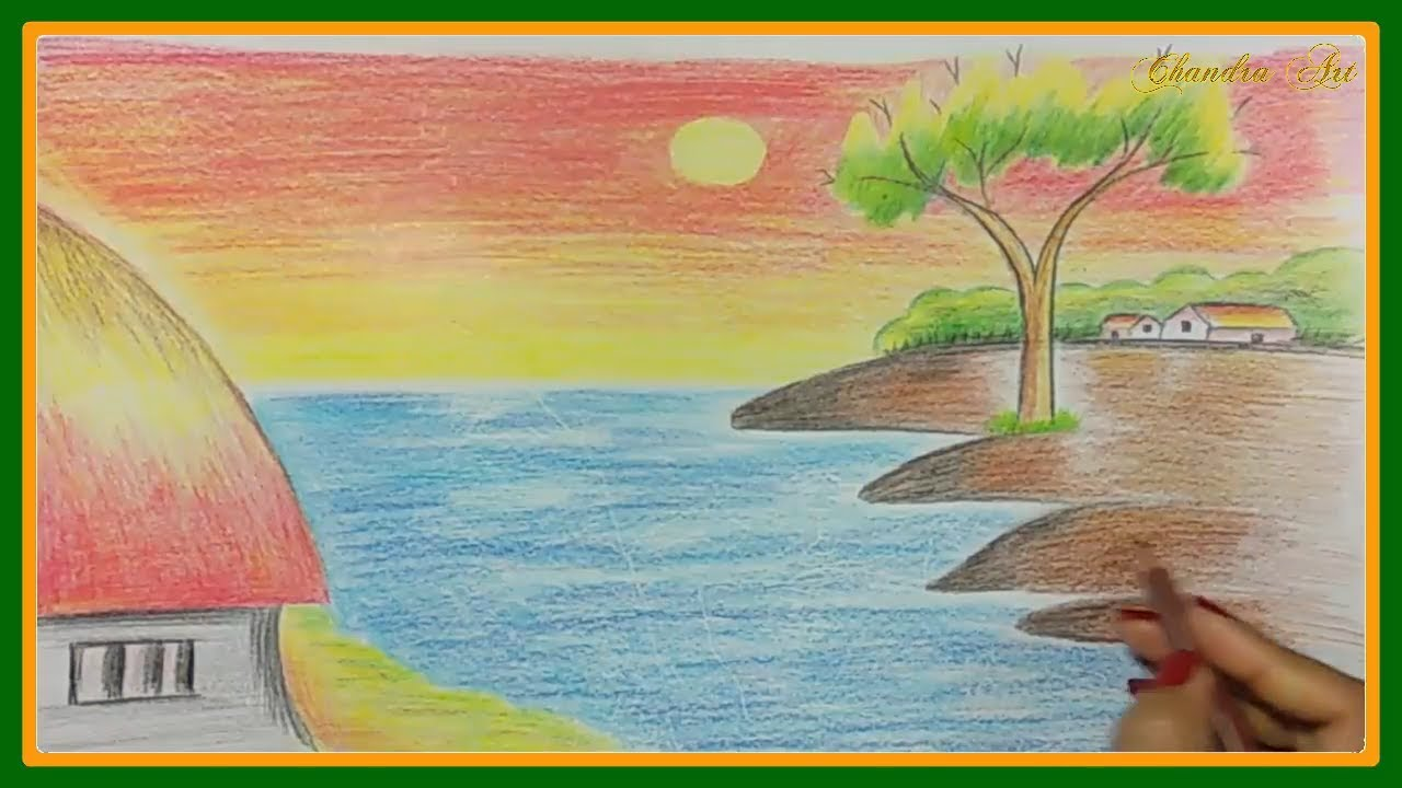 Easy landscape drawing how to draw a landscape kids drawing drawing a beautiful scenary