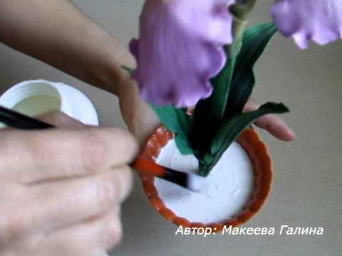 Как закрепить искусственные цветы в кашпо