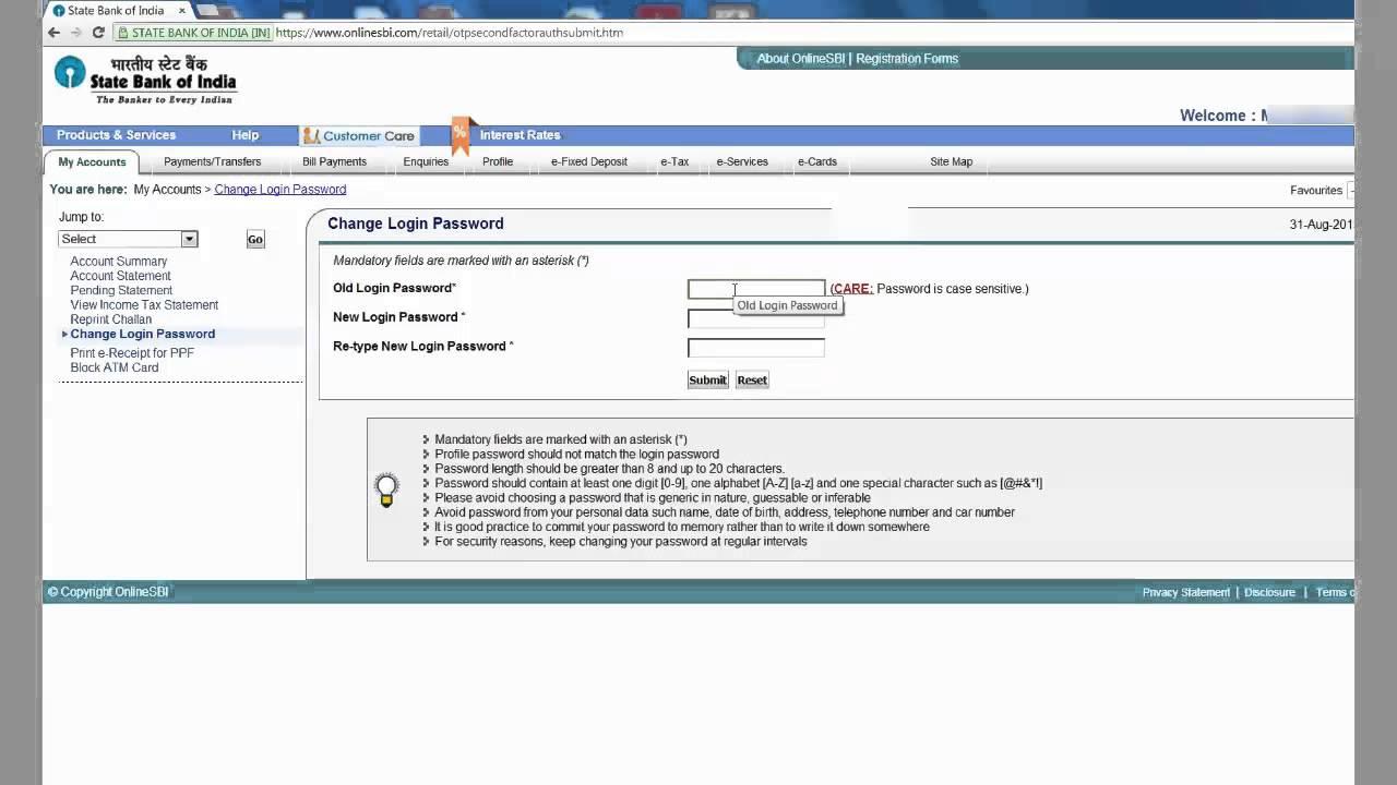 sbh online change password
