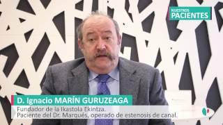 Paciente operado de estenosis de canal por el Dr. Marqués, traumatólogo de Policlínica Gipuzkoa