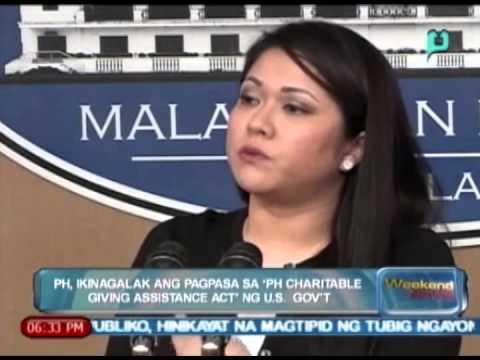 PH, ikinagalak ang pagpasa sa 'PH Charitable giving assistance act' ng U.S. Gov't [04|05|14]