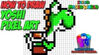 How to Draw Yoshi Pixel Art 16-Bit - Drawing Super Mario World Pixel Art Tutorial