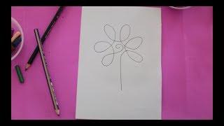 Tek Hareketle Çiçek Çizimi   Kolay çizim Teknikleri   Basic Draw   Flower Draw   Rhymes For Children