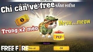 Free Fire   Phá Vòng Quay Thú Cưng Chỉ Cần Vé Free Trúng X2 Pet Mèo   Meow DGame