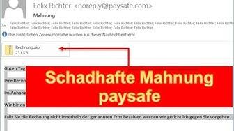 Schadhafte Mahnung von paysafe.com