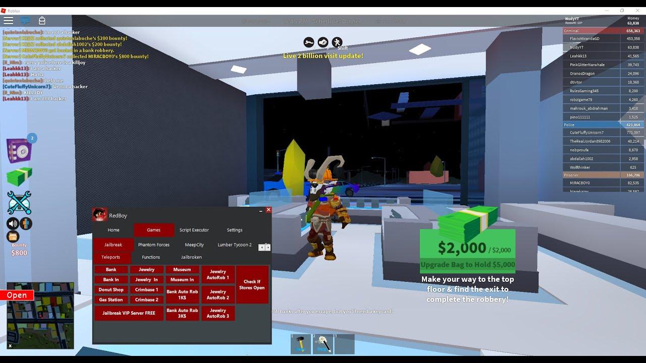 Jailbreak Hack Best Free Roblox Exploit Redboyop Btools Infinite Nitro Autorob And More - best games to hack in roblox