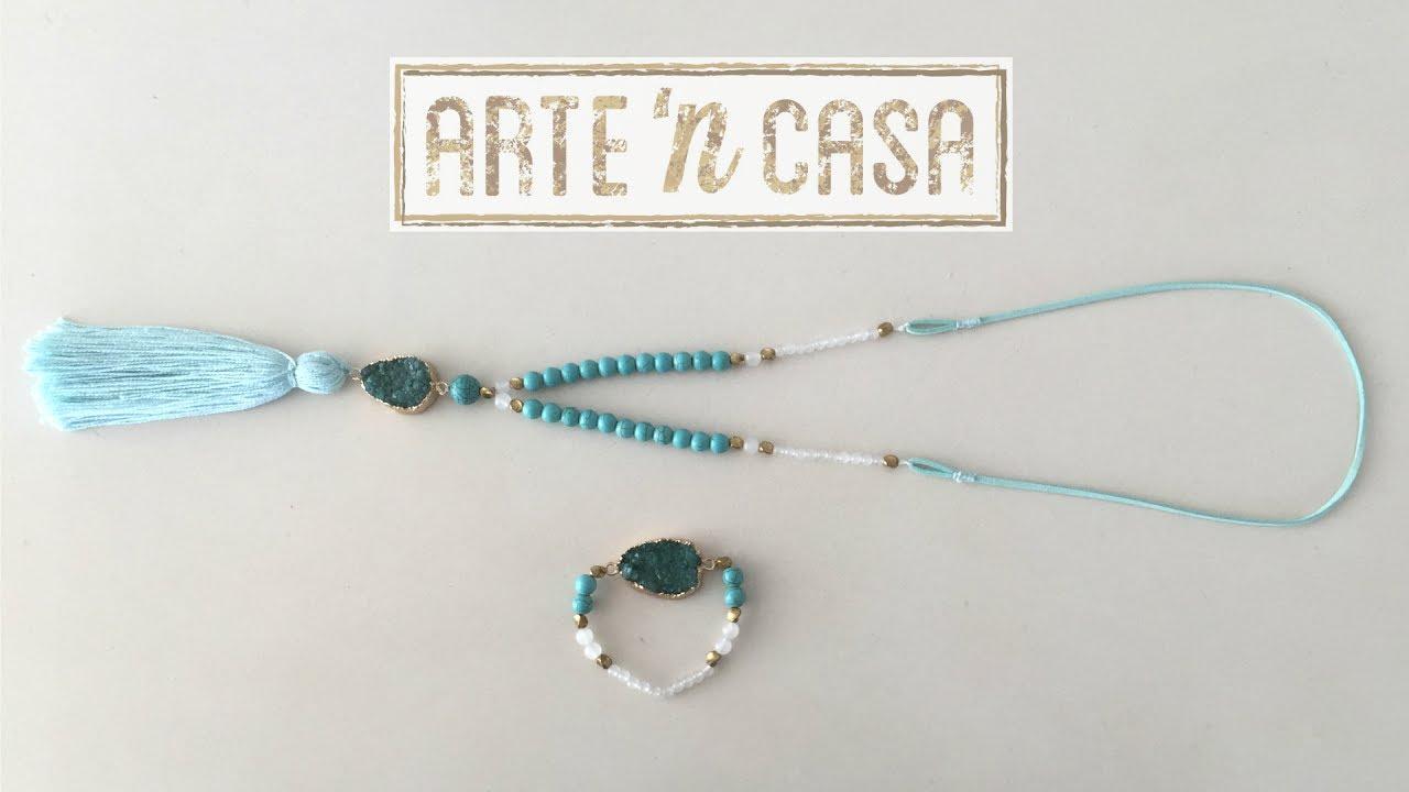 aed55cde7fb4 Collar y pulsera druzy azul