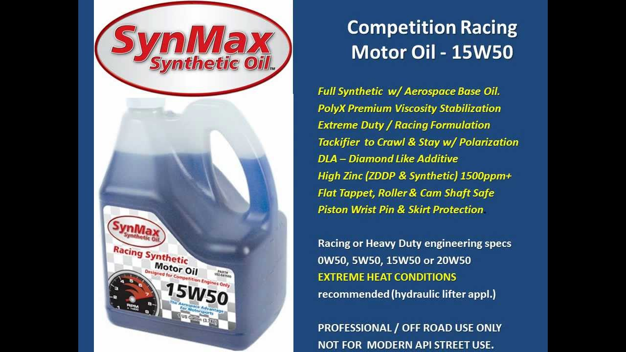 Synmax 15w50 racing synthetic motor oil high zinc w for What is synthetic motor oil made out of
