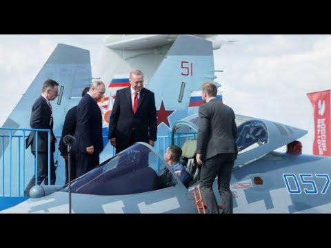 Путин на МАКС-2019 показал Эрдогану истребитель СУ-57. Путин угостил президента Турции мороженым.