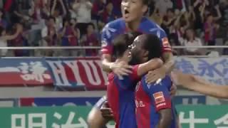 ピーター ウタカ(FC東京)が右サイドからの折り返しを無人のゴールに流...