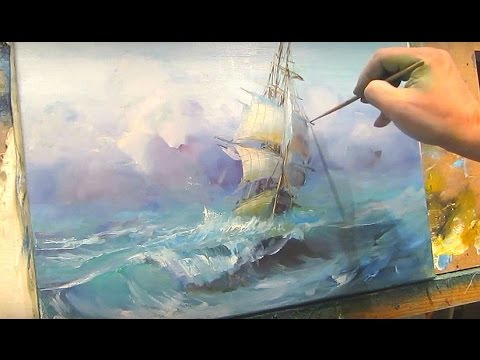 Sailboat among the waves. Oil painting.