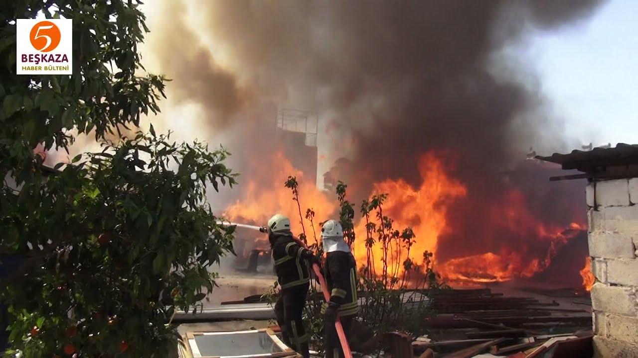 Depoda Çıkan Yangın Çevre Evdekileri Korkuttu