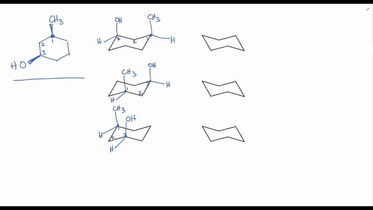 How to draw chair conformations of cyclohexane rings (and recognize equivalent representations)  sc 1 st  YouTube & How to draw chair conformations of cyclohexane rings (and recognize ...