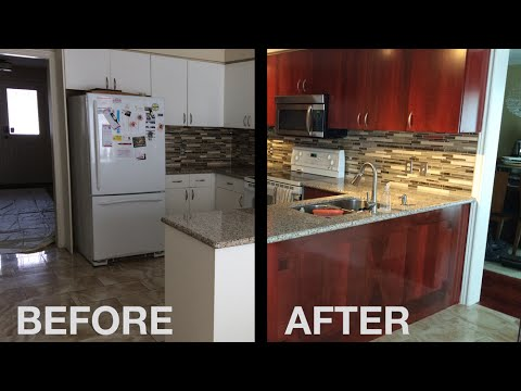 White Laminate Cabinets To Mahogany  YouTube