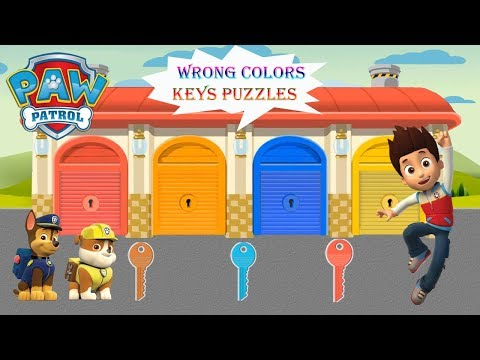 wrong-keys-puzzles-for-kids-|-learn-colors-for-children-with-paw-patrol-vehicles-garage-parking