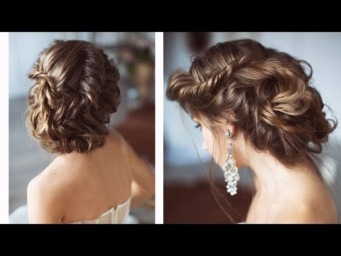 Fishtail halo braid. Wedding hairstyles tutorial