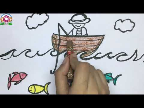 How To Draw A Fishing Boat || Draw Fish And Fisherman For Kids || Fishing Drawing
