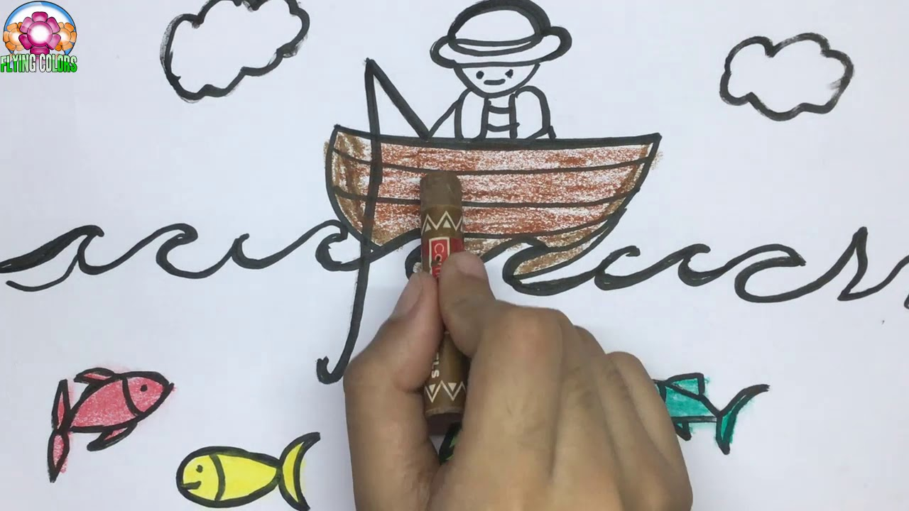 How To Draw A Fishing Boat Draw Fish And Fisherman For Kids Fishing Drawing Youtube