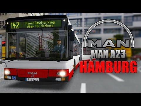 """OMSI 2: MAN Stadtbusfamilie #1 - Mit dem MAN Lion's City A23 Gelenkbus durch Hamburg-Harburg!: Mit dem MAN A23 Gelenkbus aus der MAN Stadtbusfamilie steuern wir in OMSI 2 - dem Bus-Simulator durch Hamburg Harburg auf der Linie 142 und entdecken dabei die Funktionen des MAN. Wie gefällt Euch der Payware-Bus?  ►OMSI 2 MAN Stadtbusfamilie: http://www.shop.aerosoft.com/eshop.php?action=article_detail&s_supplier_aid=13887&s_design=simulation4u&shopfilter_category=Simulation4u&s_language=german ►Hamburg-Harburg: https://omsi-webdisk.de/index.php?page=Entry&entryID=529 Kaum ein Fahrzeug prägt die Omnibusgeschichte und das Stadtbild in Deutschland so deutlich wie die """"Lion's City""""-Serie von MAN. Jetzt können Spieler die Niederflur-Stadtbusfamilie am PC selbst erleben. Das Add-on """"MAN Stadtbusse"""" für OMSI 2 beinhaltet den Überlandwagen A20, den Solowagen A21, den Gelenkbus A23 und den überlangen 15-Meter-Solobus A26.  Dank ihres modularen Aufbaus sind alle vier Busse ganz individuell anpassbar. Bis zu 45 Einstellungsmöglichkeiten von Radkappen über Türen und Sitze bis hin zu Innenanzeigen ermöglichen es dem Spieler, sein Wunschfahrzeug zu kreieren. Darüber hinaus sind die Fahrzeuge voll Repaint-fähig, sodass sie sich nahtlos in den eigenen Busbetrieb einfügen lassen.  Alle Modelle verfügen über realitätsgetreue Sounds und Animationen – hervorzuheben ist hier insbesondere der Faltenbalg des Gelenkbusses, der sich in Kurven sehr realistisch verhält. Platz nehmen kann der Spieler in VDV-Cockpits inklusive Bildschirm für die Fahrzeugdiagnose.  Features:  • Der MAN Stadtbus in 4 verschiedenen Grundvarianten (Solo, Solo 15m, Überland- und Gelenkbus)  • Modularer Aufbau mit bis zu 45 Einstellungsmöglichkeiten (je nach Fahrzeugtyp)  • Realistische Sounds, Modelle und Animationen  • VDV-Fahrerarbeitsplatz inkl. Bildschirm für die Fahrzeugdiagnose  • Volle Repaintfähigkeit für alle Fahrzeuge  • Realistisch animierter Faltenbalg  Hamburg-Harburg: Harburg ist ein Stadtteil im Süden der """