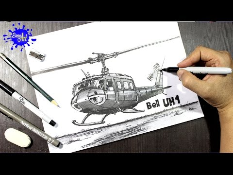 Como dibujar un Helicoptero Bell UH1 l How to draw a helicopter ...