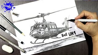 Como dibujar un Helicoptero Bell UH1 l How to draw a helicopter