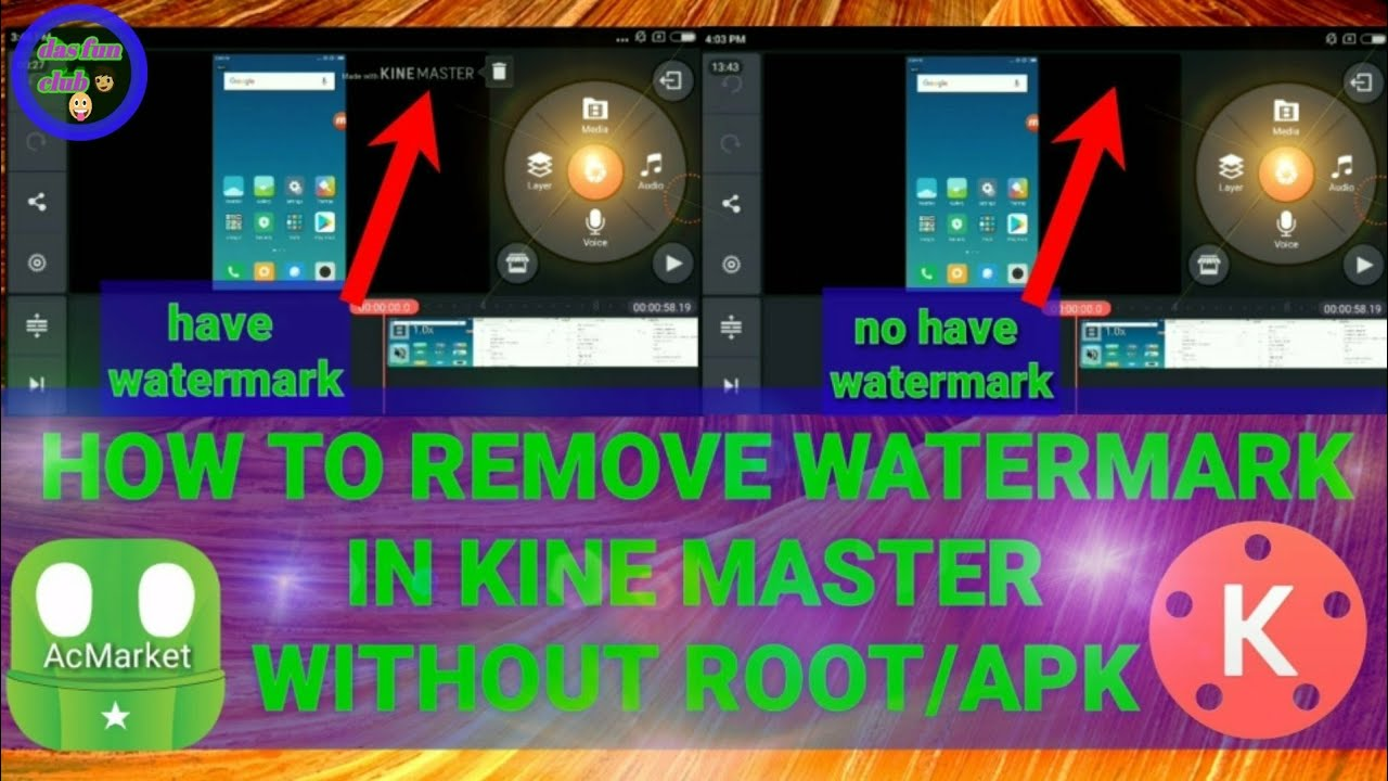 How to remove watermark in kinemaster by acMarket app  without root/APK