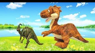 Динозавры. Тиранозавр не может догнать веселого Паразауролофа. Детские песни. Игрушки видео.(Весёлый динозавр Паразауролоф убегает от кровожадного динозавра Тиранозавра Рекса, и ничео не может ему..., 2016-03-14T07:59:48.000Z)