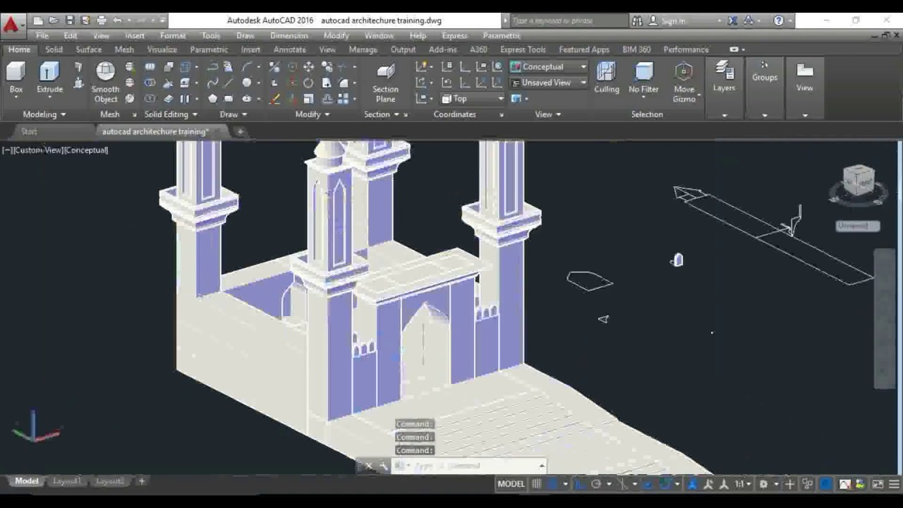2d To 3d In Autocad Mosque Modeling Tutorial Youtube