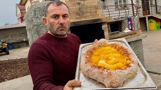 "DOUGH, CHEESE, EGG. CHEESE CAKE ""KHACHAPURI in AJARIAN"". ENG SUB"