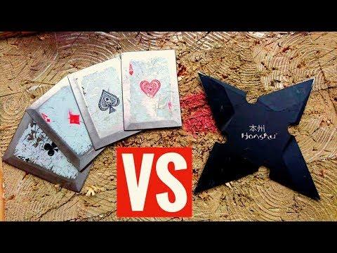 Steel Throwing Cards VS Ninja Star Shuriken (Challenge/EPIC WIN) World Record?