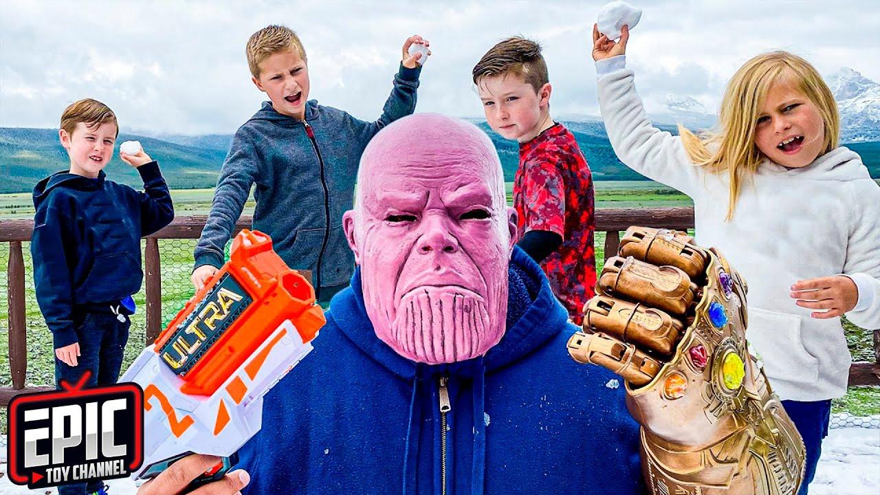 Thanos Tricks Hero Kidz Squad In Real Life - Fun Kids Adventure