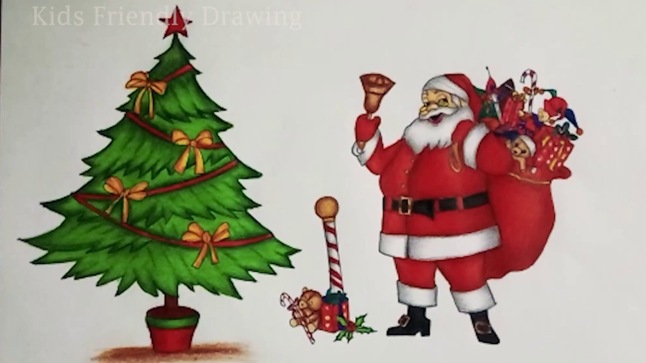 christmas drawings how to draw a christmas tree with santa claus santa claus drawing - Santa Claus Santa