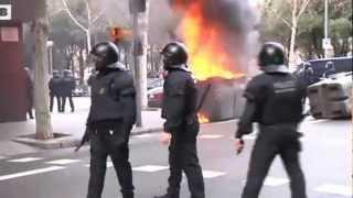#28F Barcelona, Huelga de estudiantes: Altercados y enfrentamientos con los Mossos
