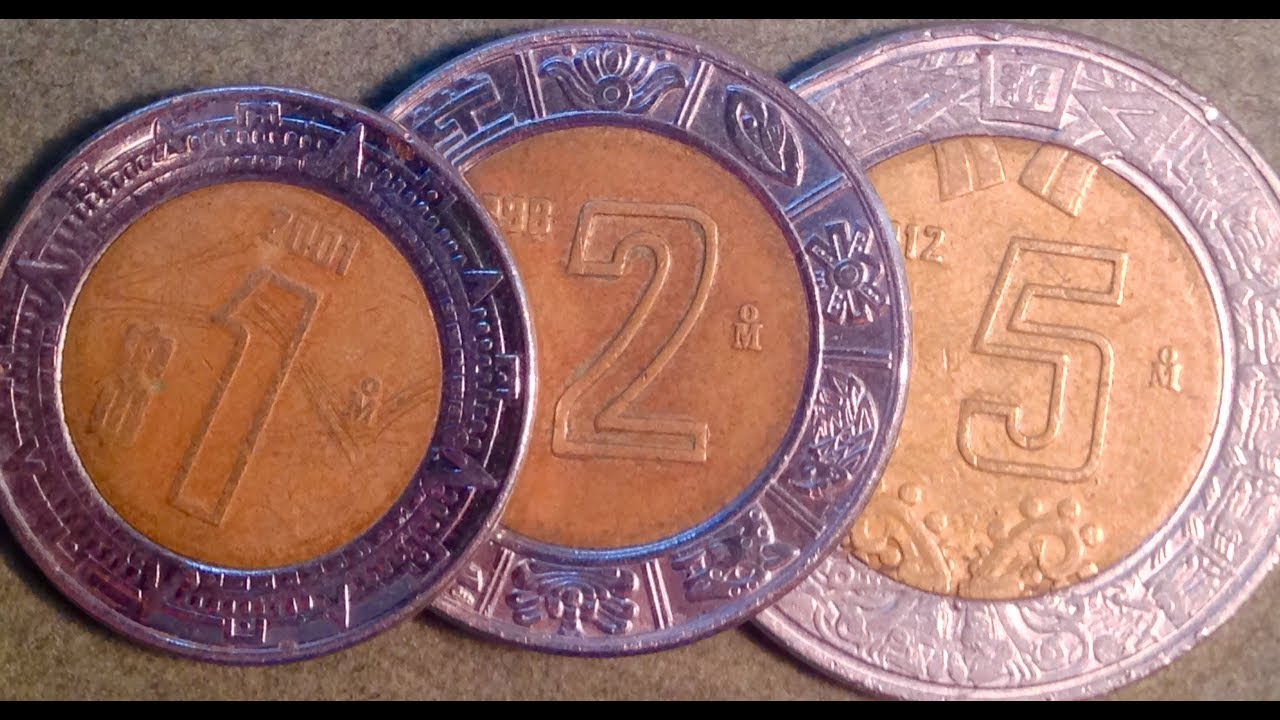 1 Peso 2 Peso and 5 Modern Peso Coins Of Mexico